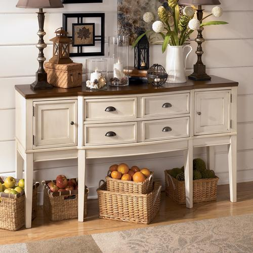 signature designashley whitesburg two-tone breakfront dining
