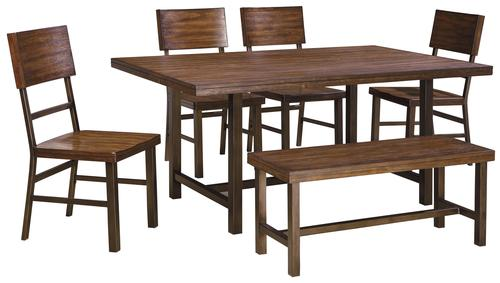Signature Design By Ashley Riggerton Contemporary Table Set With Bench