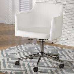 Baraga White Vinyl Home Office Swivel Desk Chair