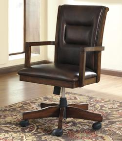 Devrik Home Office Desk Chair with Exposed Wood Arms