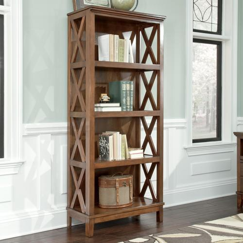 Burkesville Large Bookcase With X Side Panels And Birch Veneer