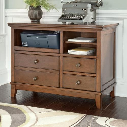 Signature Design By Ashley Burkesville Home Office Cabinet With Pull Out Tray And Birch Veneer