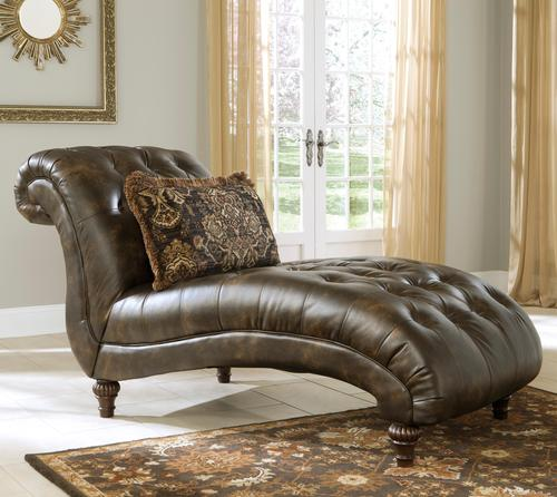 Signature design by ashley glynallen teak tradtional for Ashley brown leather chaise