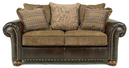 Briar Place Antique Loose Pillow Back Loveseat In Fabric Faux Leather