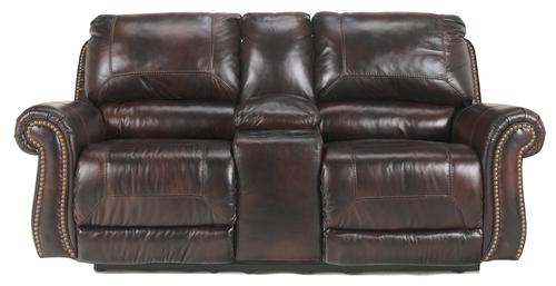 black leather reclining loveseat console with canada saddle match double power