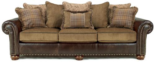 Briar Place Antique Loose Pillow Back Sofa In Fabric Faux Leather