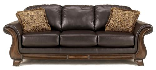 Riverton   Java Brown Faux Leather Queen Sleeper Sofa