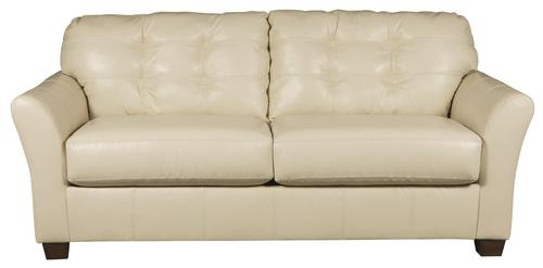 Santigo   Cream Contemporary Leather Match Full Sofa Sleeper With Memory  Foam Mattress