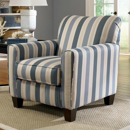 Addison   Blue Stripe Accent Chair With Exposed Wood Feet