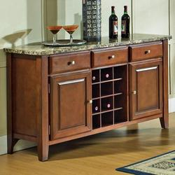 Montibello Transitional Marble Veneer Top 3-Drawer 2-Door Server with Wine Rack