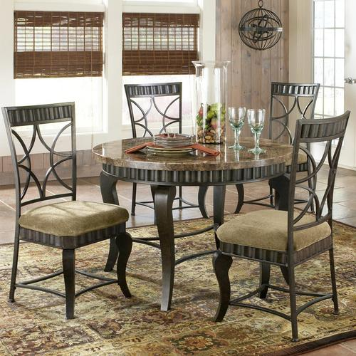 Silver Hamlyn 5 Piece Round Faux Marble Top Metal Dining Table Set