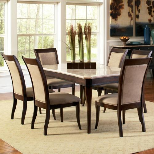 Piece Rectangular Marble Table And Upholstered Side Chair Dining Set