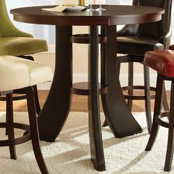 Brooks Round Pedestal Bar Table With 2 Shelves