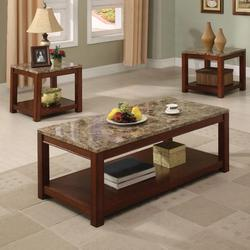 Bologna Three Piece Coffee and End Table Set with Faux Marble Tops