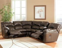 Kellum - Chocolate Reclining Leather Sectional with Console