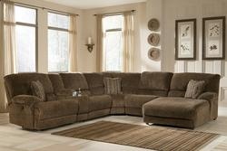 Pivot Point - Truffle Power Reclining Sectional with Storage