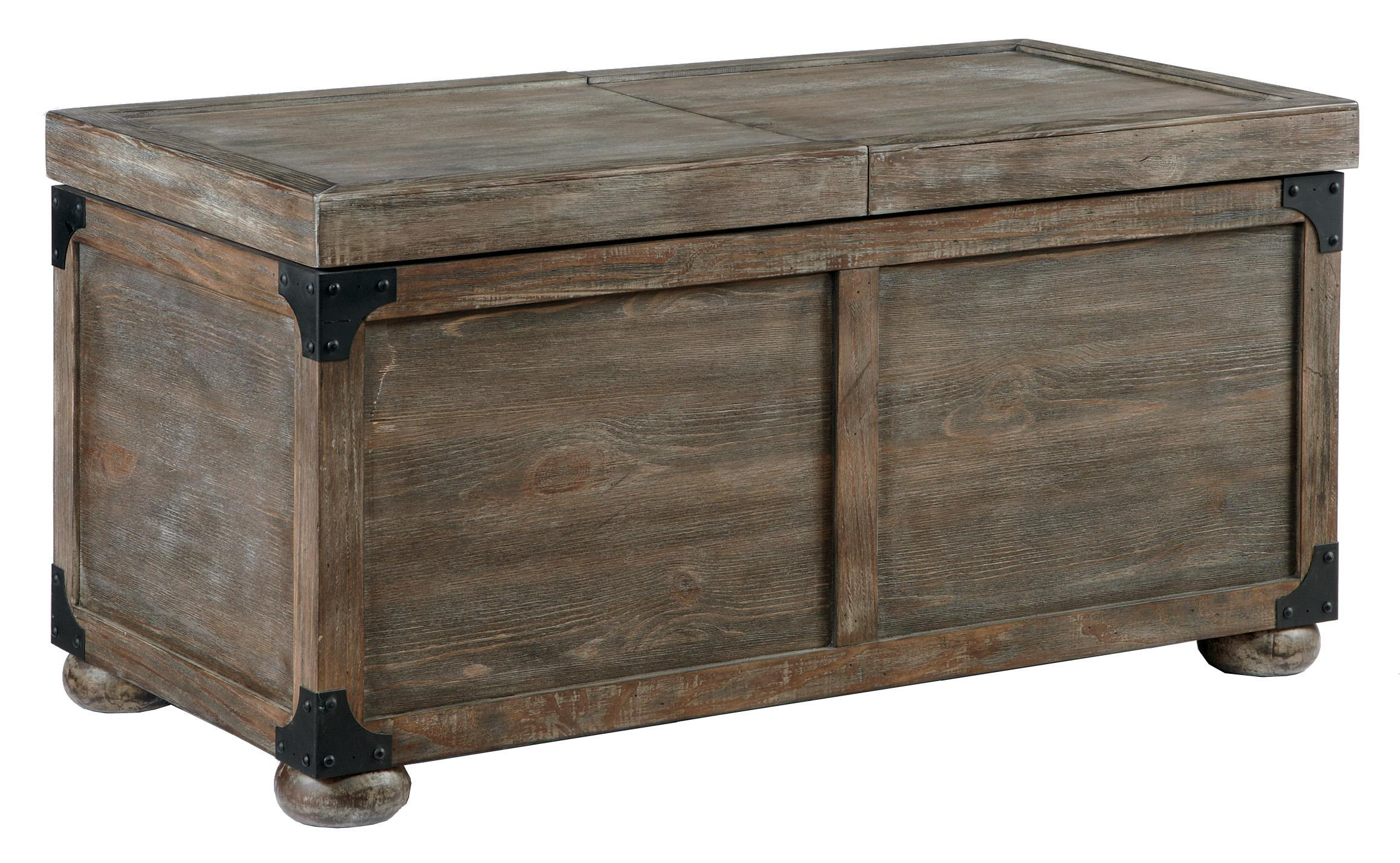 Rustic accents trunk style rustic storage cocktail table from signature design by ashley Trunk coffee tables