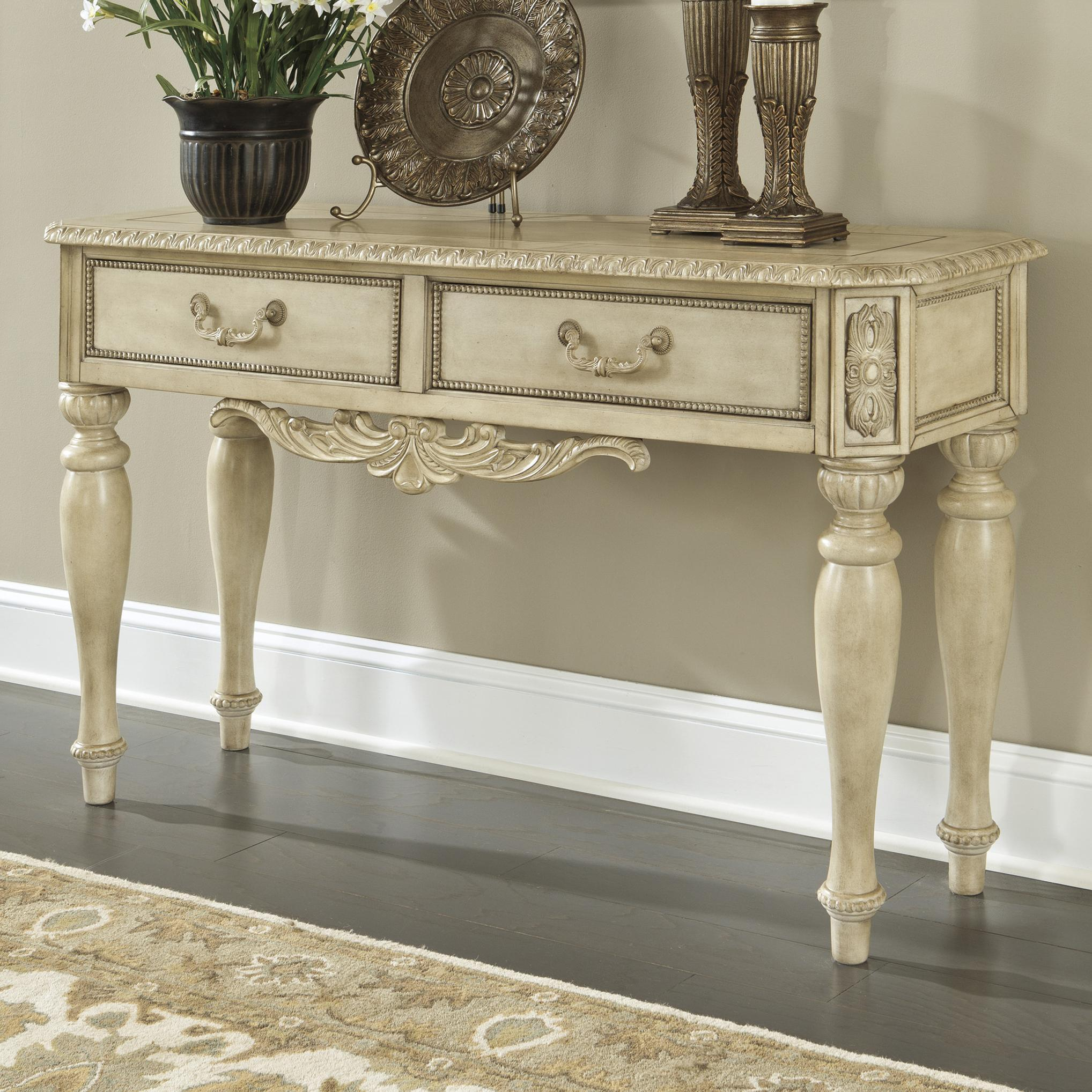 ortanique old world sofa console table with 2 drawers from