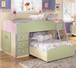 Doll House Twin Loft Bed with Built-in Drawers, Doors, and Shelves