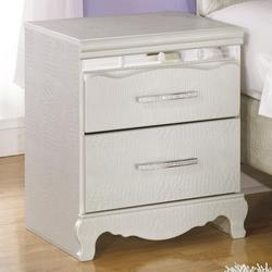 Zarollina Two Drawer Night Stand in Silver Pearl Faux Gator Finish