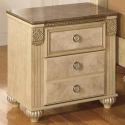 Saveaha Two Drawer Night Stand with Faux Marble Top