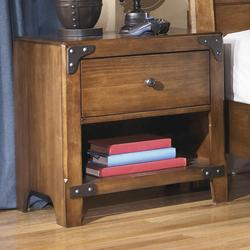 Delburne One Drawer Night Stand with Shelf in Rustic Pine