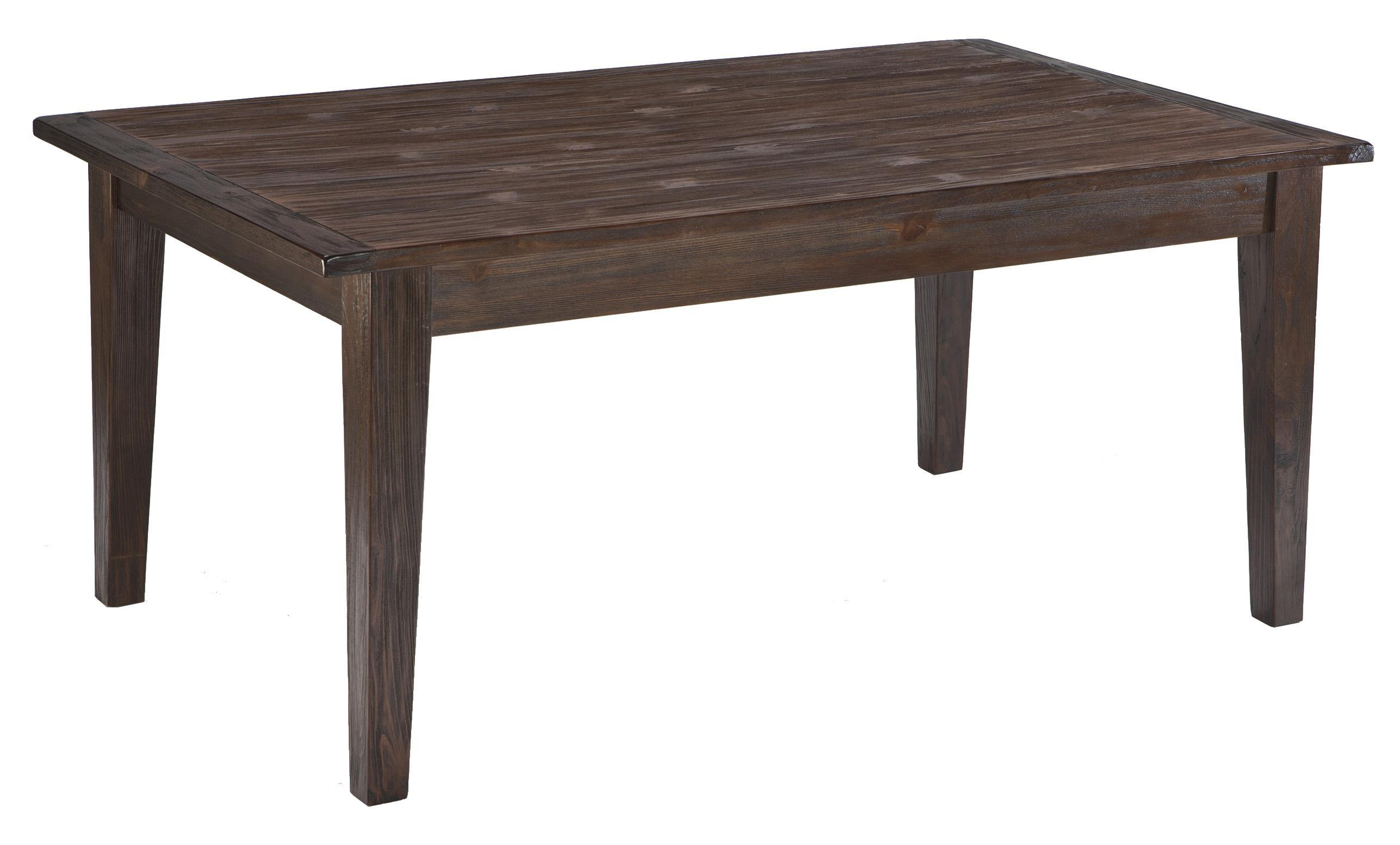Mestler dark brown rectangular dining room table with for Ashley furniture dining room table