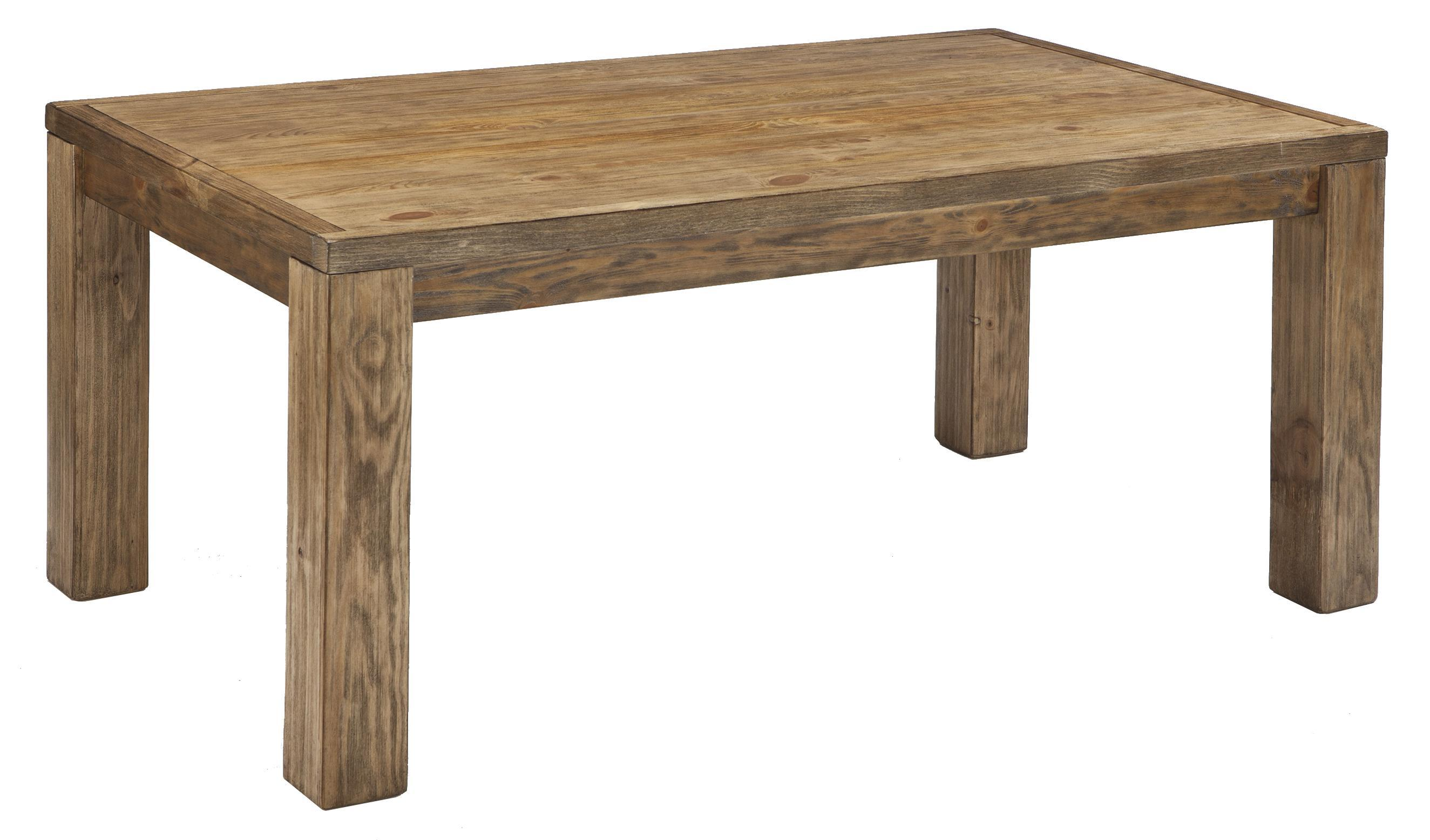 Mestler Honey Pine Rectangular Dining Room Table With Block Legs From