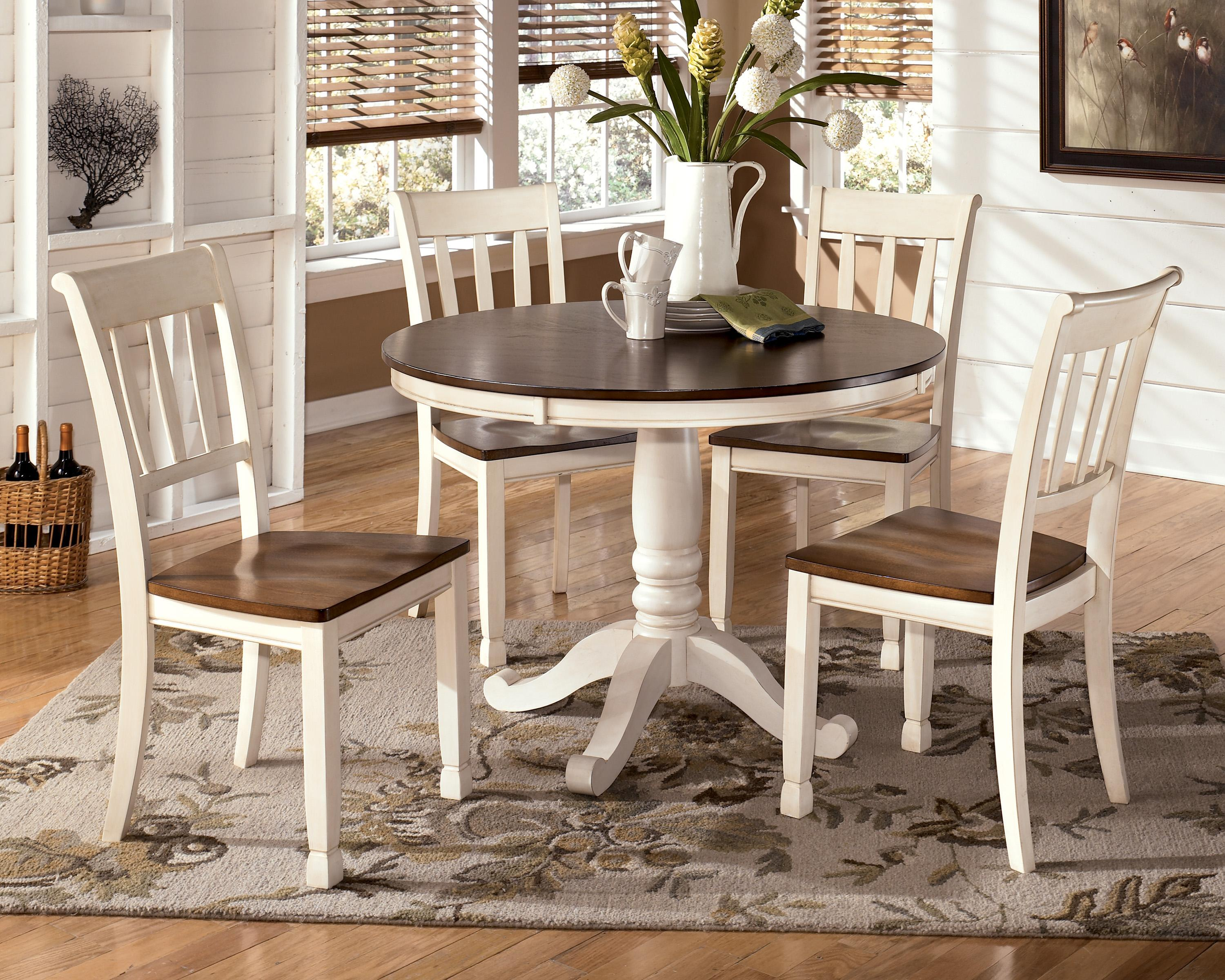whitesburg 5 piece two tone cottage round table set from signature design by ashley beverly. Black Bedroom Furniture Sets. Home Design Ideas