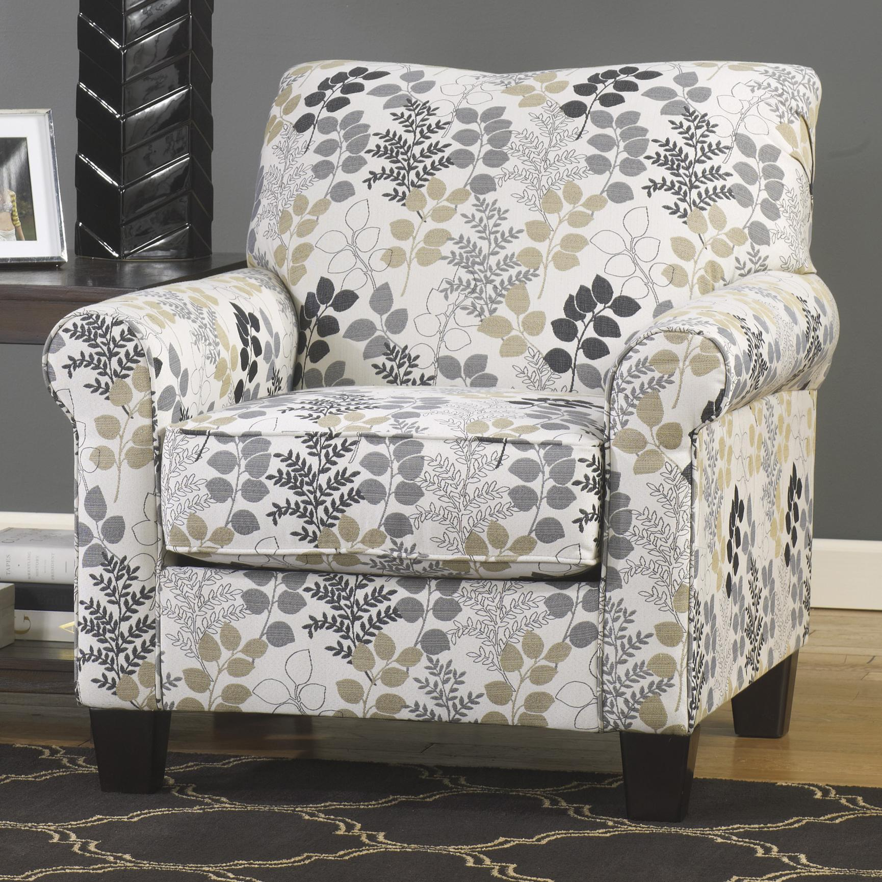 Makonnen contemporary accent chair in leaf print
