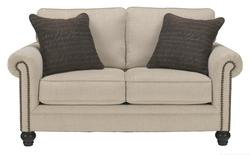 Milari - Linen Transitional Loveseat with Rolled Arms with Nail Head Trim