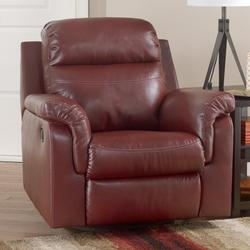 Primematic DuraBlendᆴ - Crimson Contemporary Swivel Rocker Recliner with Pillow Arms