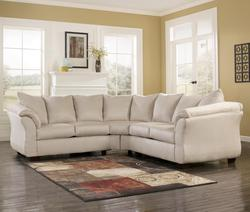 Darcy - Stone Contemporary Sectional Sofa with Sweeping Pillow Arms