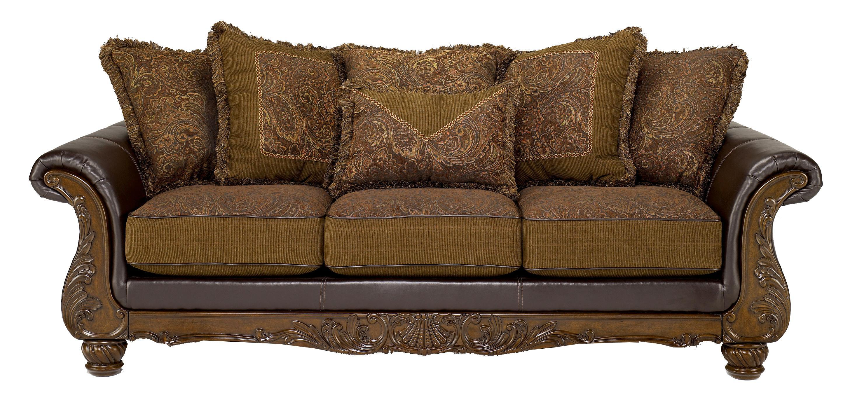 wilmington walnut traditional exposed wood sofa with loose pillow