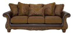 Wilmington - Walnut Traditional Exposed-Wood Sofa with Loose Pillow Back
