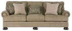 Keereel - Sand Transitional Sofa with Rolled Arms and Bun Feet