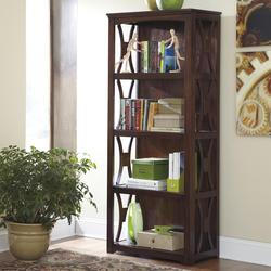 Devrik Medium Brown Contemporary Bookcase with 4 Shelves