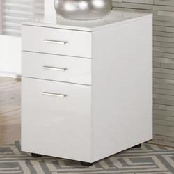 Baraga Full Gloss White File Cabinet with Casters
