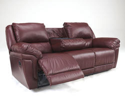 Magician Durablend® Garnet Reclining Sofa w/ Drop Down Table & Massage