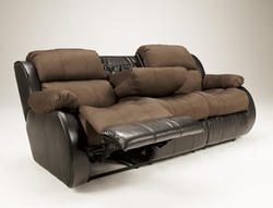Presley Espresso REC Sofa w/Drop Down Table