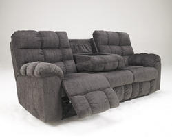 Acieona - Slate Reclining Sofa with Drop Down Table